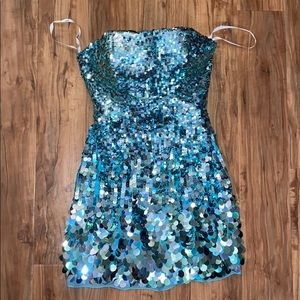 Sherri Hill Blue Sequin Dress